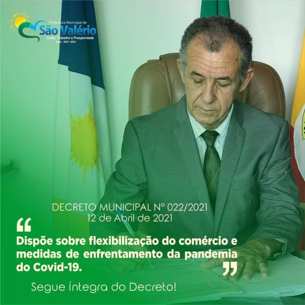 Prefeitura Publica Novo Decreto Nº 022/2021 que dispõe sobre a flexibilização do comércio e medidas contra a (Covid-19).