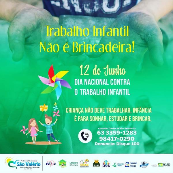 Dia 12 de Junho dia Nacional e Internacional Contra o Trabalho Infantil!